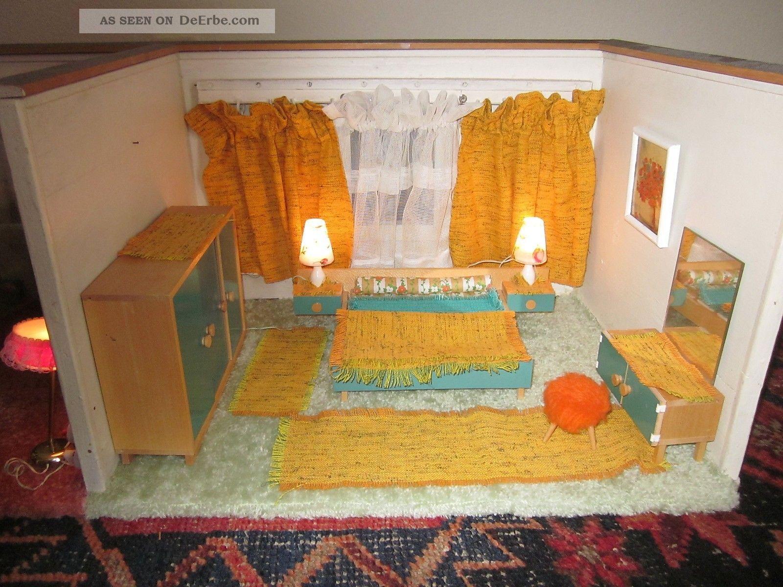 antik puppenhaus 50 ger jahre puppenm bel puppenstube mit beleuchtung wohnzimmer. Black Bedroom Furniture Sets. Home Design Ideas