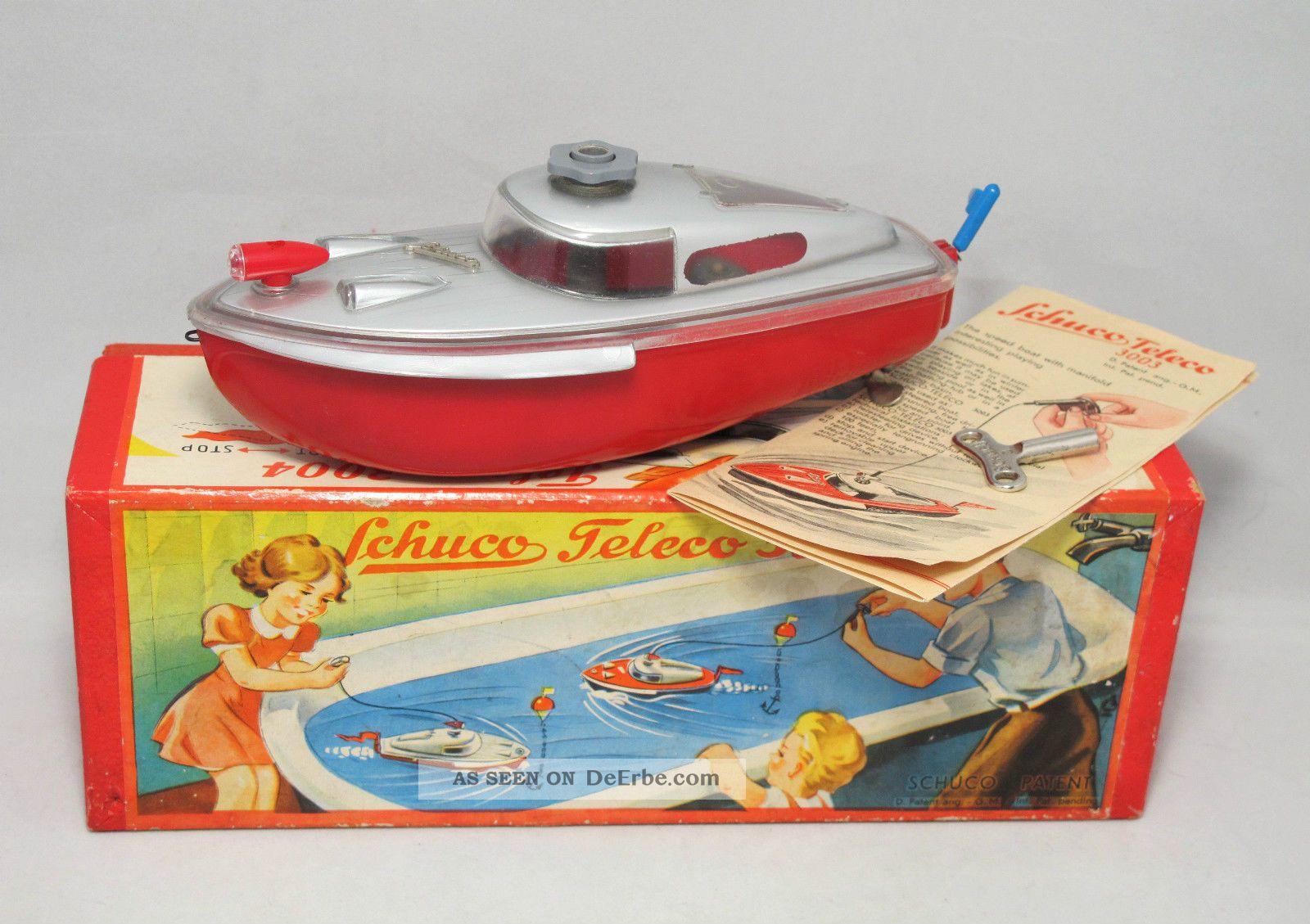 Schuco 3004 Teleco Uhrwerk Boot In Ovp 1954 Geschenkkarton / Giftbox Original, gefertigt 1945-1970 Bild