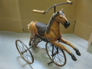 Altes Großes Holzpferd Schaukelpferd Karussellpferd Dreirad Rarität 90cm Bild