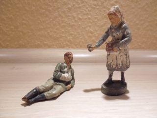 Elastolin - 1 Krankenschwester - - 1 Soldat Verwundet 2.  W.  K.  Org 30er Bild