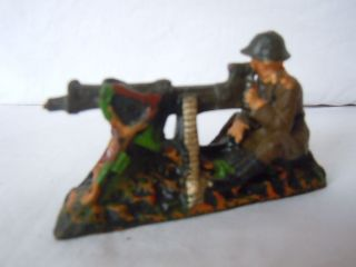 Lineol Elastolin Wehrmachr Infanterie Soldat Maschinengewehr - Bedienung Elastolin Bild