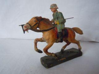 Lineol Elastolin Wehrmachtssoldat Reiter Mit Wimpel Pferd Mit Holzboden Top Bild