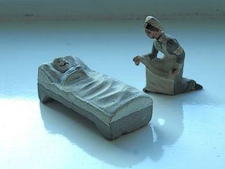 Lineol Figuren - Verwundeter Soldat,  Rot Kreuz Schwester 10,  5 Cm Bild