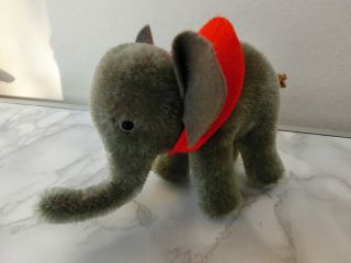 Steiff Elefant Stehend Mohair K - Augen,  Roter Filzkragen,  9 Cm H,  10 Cm L Bild