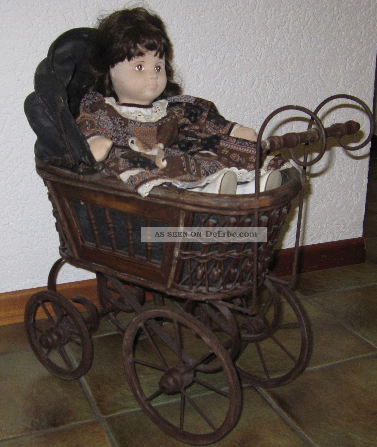 antiker puppenwagen deko nostalgie mit puppe. Black Bedroom Furniture Sets. Home Design Ideas