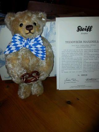 Steiff - Teddybär Mit Zertifikat - 850 Jahre München - Limitierte Edition - Ovp Bild