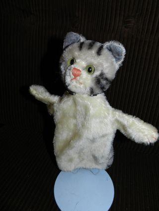 Orginal Steiff Handpuppe Alt Grau Getiegerte Katze Kätzchen Puppentheater Bild