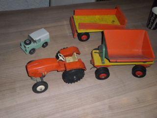 4x Altes Steiff Traktor - 2x Anhänger - 1x Landrover Bild