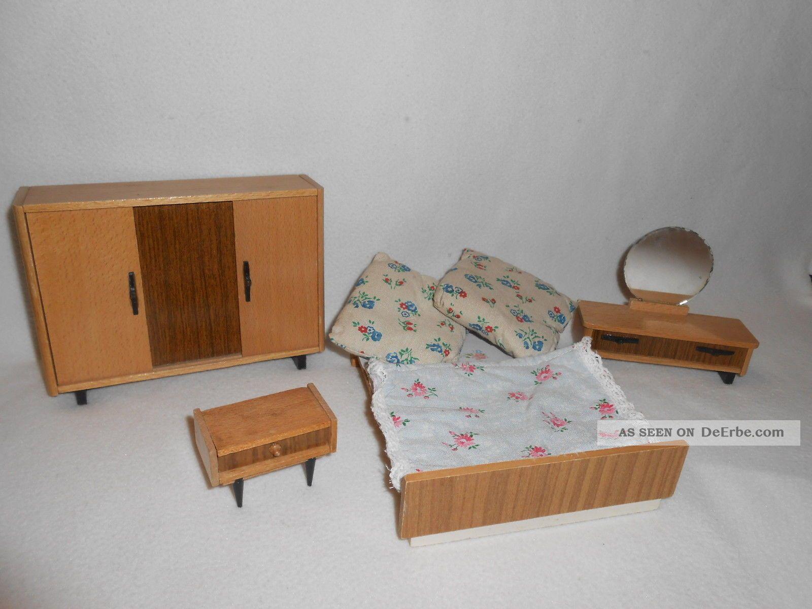 Ddr, Puppenstube, Komplettes Schlafzimmer, Möbel, Holz, Konvolut ...