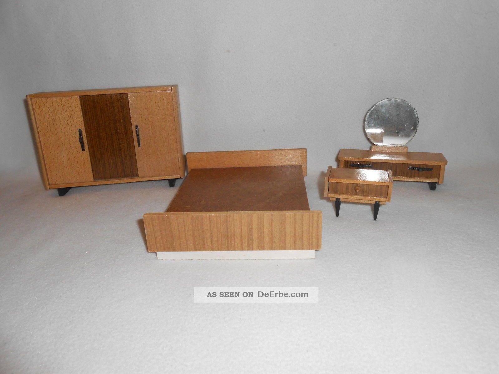 ddr puppenstube komplettes schlafzimmer m bel holz. Black Bedroom Furniture Sets. Home Design Ideas