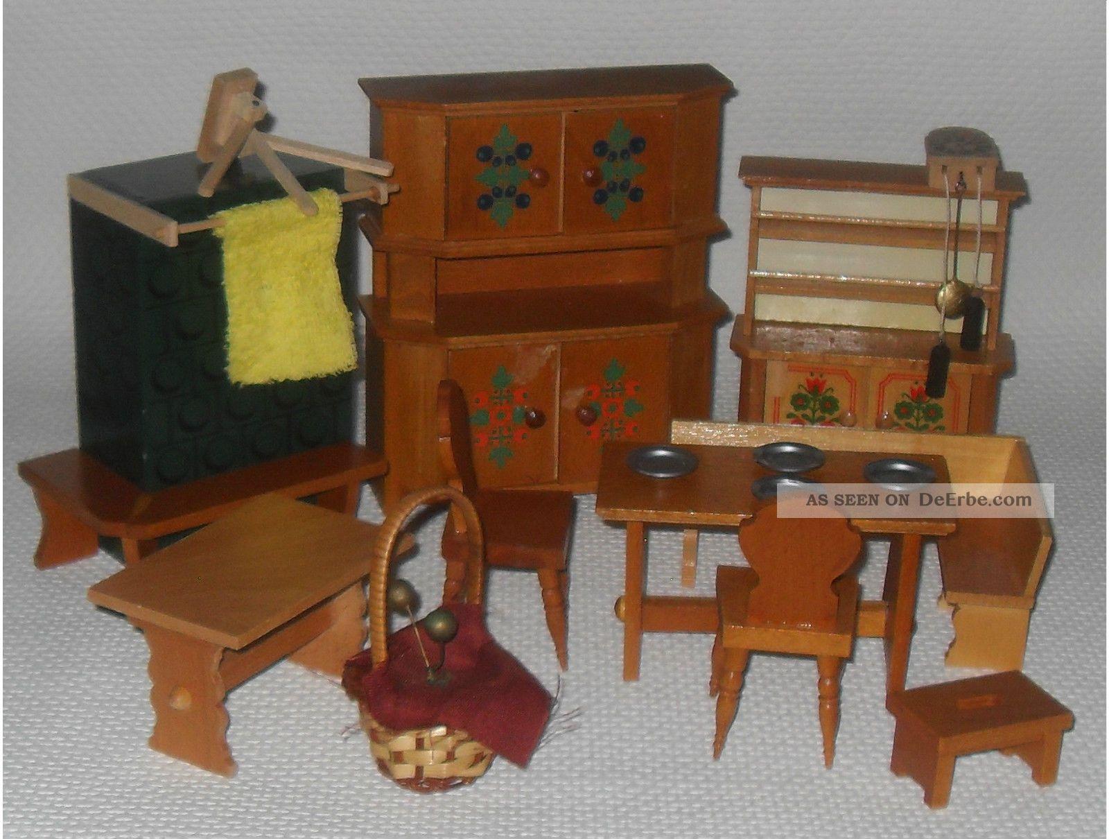Mehrtlg. Puppenhausmöbel, Puppenstubenküche, Bauernmalerei, Holz ...