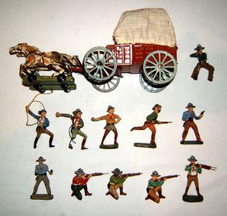 Konvolut,  10 Massefiguren,  Elastolin Cowboys,  Planwagen,  Zugpferde,  Bastelware Bild