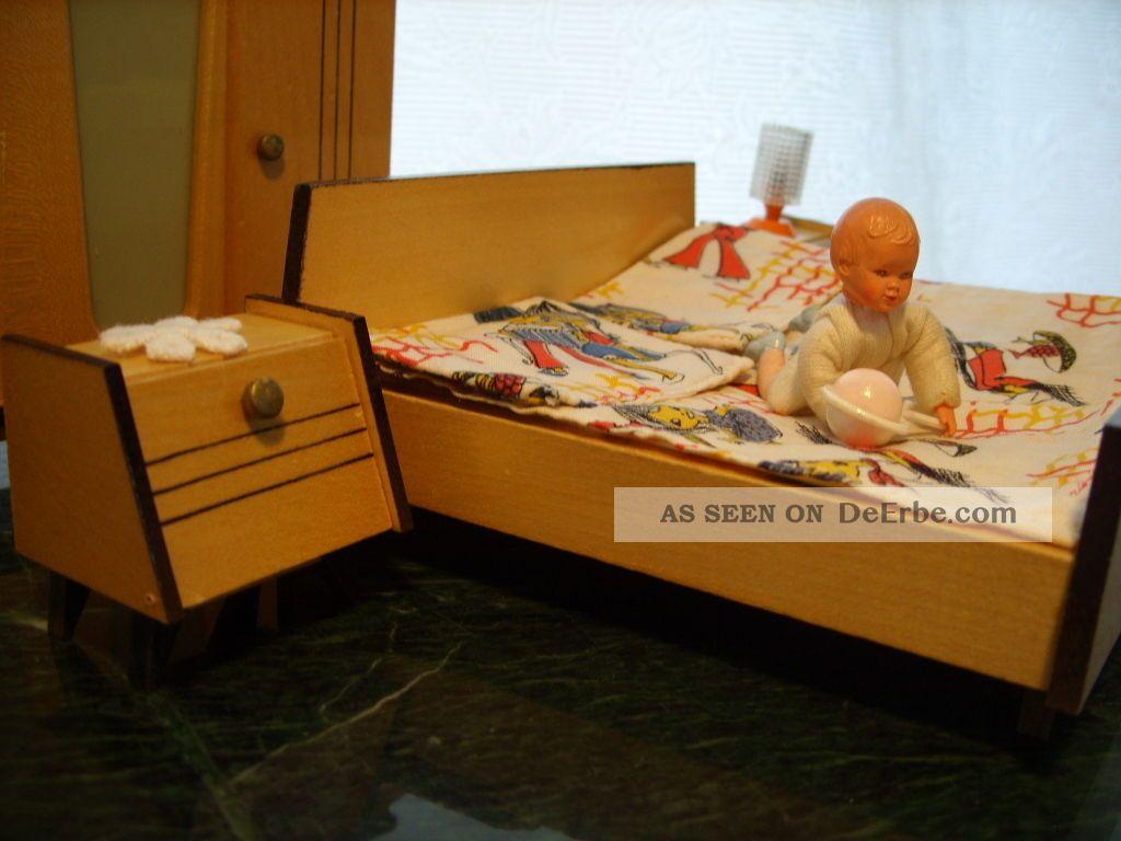 kultiges schlafzimmer puppenm bel 60er jahre zubeh r. Black Bedroom Furniture Sets. Home Design Ideas