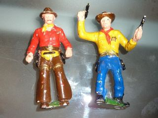2 Seltene Alte Lineol Figuren Cowboys Ca.  50er Jahre Massefiguren Germany 7 Cm Bild