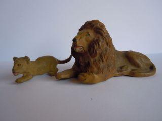Lineol Elastolin Löwe Mit Jungtier Von Lineol Zootiere,  Top, Bild