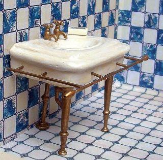 Dekoratives Nostalgisches Waschbecken Badezimmer Puppenstube Puppenhaus  Unikat Bild