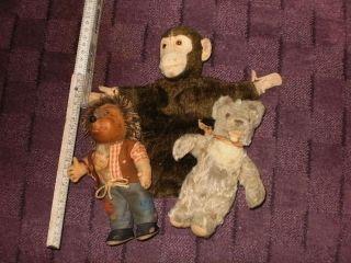 Antikspielzeug 3 Teile Steiff,  Teddy,  Mecki,  Und Affe (handpuppe) Bild