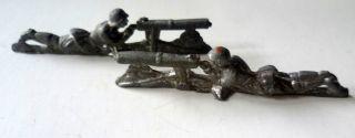 2 Liegende Soldaten Beim Schießen Ca.  8,  5 Cm,  Denke Aus Blei Vor 1945 (17) Bild