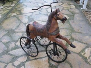 Holzpferd Schaukelpferd Karussellpferd 70cm Holz Dreirad Bild