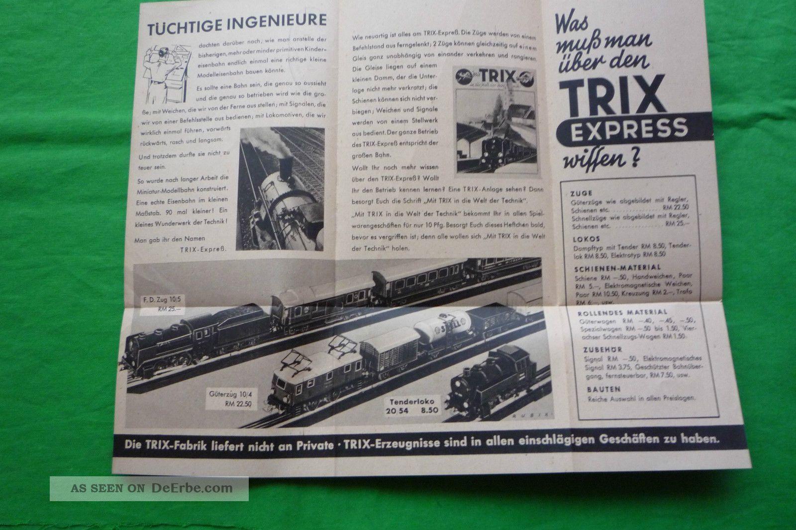 antiker prospekt trix express eisenbahn zubeh r reichsmark ca 1935. Black Bedroom Furniture Sets. Home Design Ideas