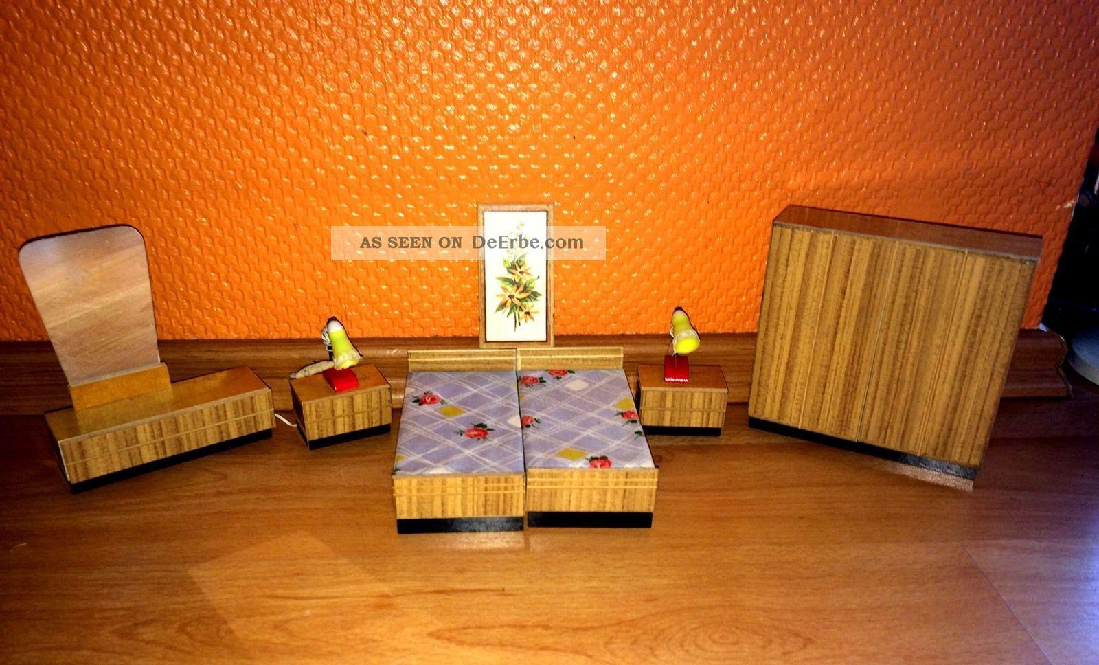 Alte Schlafzimmer Mobel Puppenstube Puppenhaus Mit Nachttischlampen