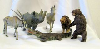 Konvolut Von 5 Wildtieren Aus Lineol Bild