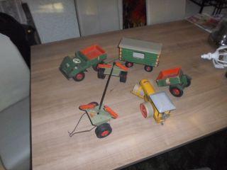 5x Altes Steiff Unimog Mit Anhänger - Bauwagen - Holzanhänger - Walze Bild