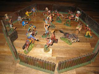 Indianer Fort Pferde Elastolin Plastoline Konvolut Cowboys Indianer Holz Zaun Bild