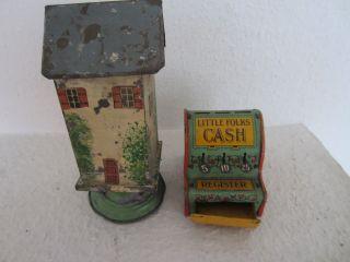 Blech - Kasse Dachbodenfund Aus Puppen - Kaufladen Ca 7,  5 Cm Und 1 Turm Bild