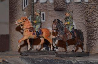 Elastolin - Reiter Mit Pferd Antik 7,  5 Cm Bild