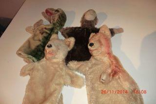 4 Steiff Handpuppen Sehr Alt.  Bär,  Affe,  Fuchs Und Krokodil Bild