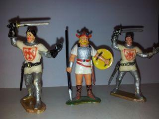 Starlux,  Elastolin,  2 Figuren Des Ritter Sir Ivanhoe Und 1 Wikinger Bild
