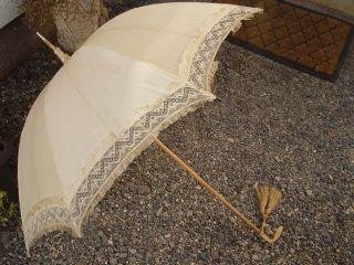 Antiker Originaler Wunderschöner Schirm Mit Ausgefallenem Griff - 19.  Jhd Bild