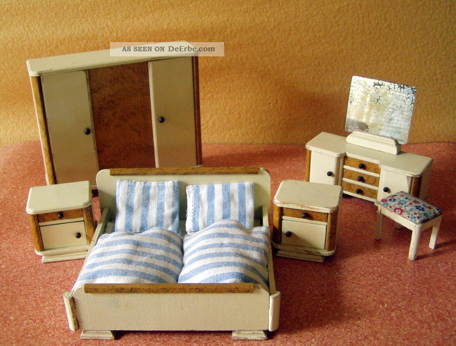 Schlafzimmer 10er Jahre Puppenstube Puppenhaus PuppenmÖbel