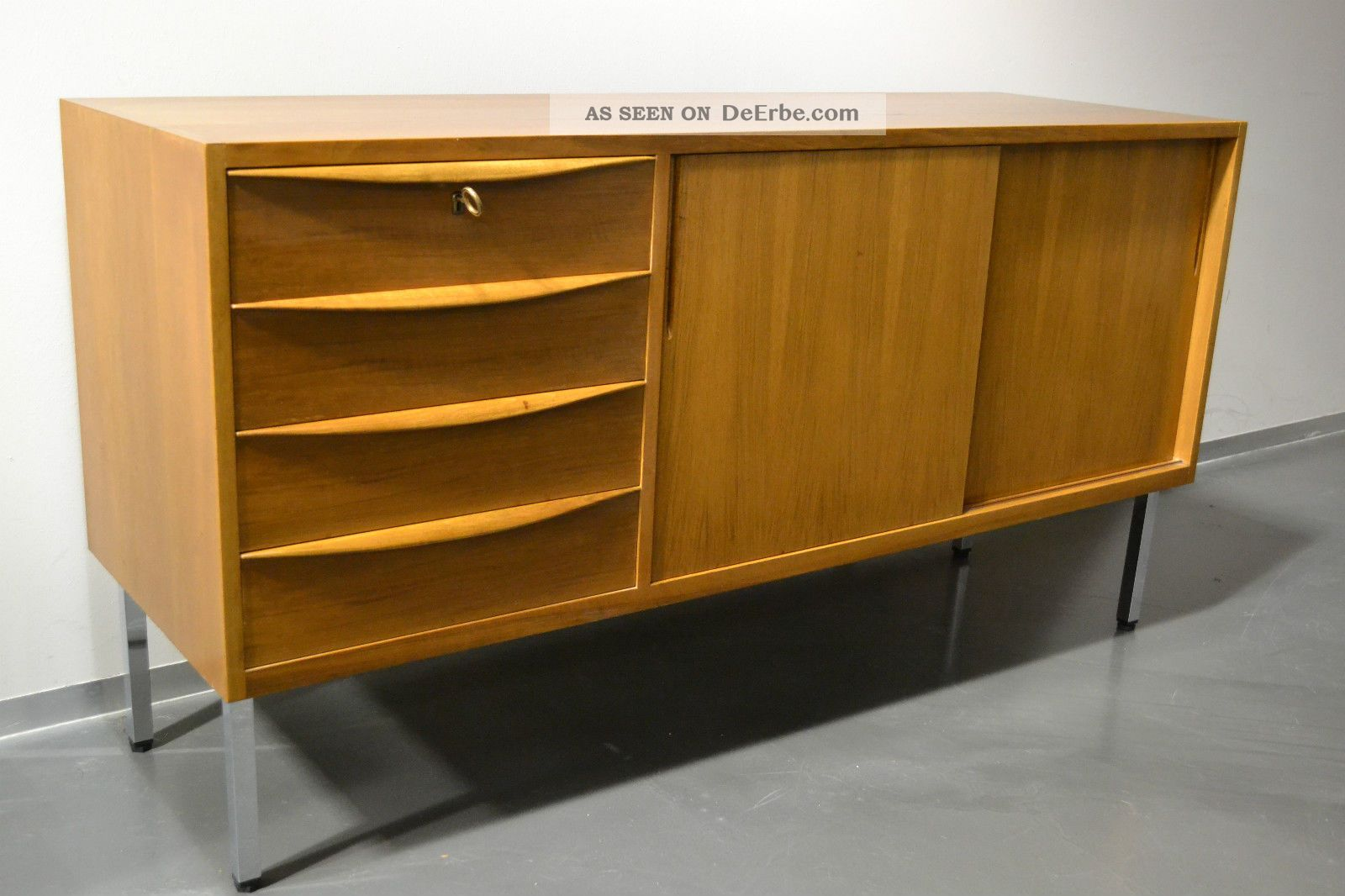 sideboard anrichte schubladen kommode 60er 70er jahre teak teakholz mid century. Black Bedroom Furniture Sets. Home Design Ideas