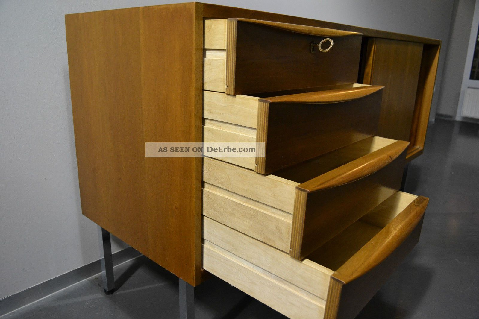 sideboard anrichte schubladen kommode 60er 70er jahre teak. Black Bedroom Furniture Sets. Home Design Ideas