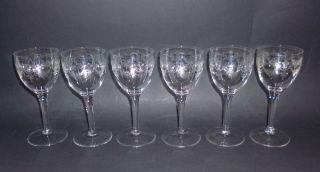 6 Jugendstil Kristall Glas Wein Gläser Herrliche Ätzung Floral Klassik Um 1900 Bild