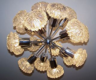 70er Sputnik Mit 18 Glasschirmen / 18 Lamp Shades / Top - Bild