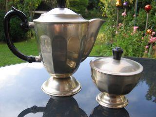 - Art Deco - Alte,  Formschöne Tee - / Kaffeekanne Und Zuckerdose Aus Metall Bild