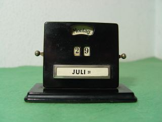 Ori.  30er Art - Deco Alter Ewiger Tischkalender In Schwarz Gemarkt Jacob Maul Rarrr Bild