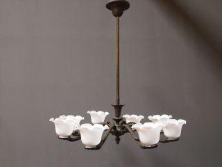 Art Deco Deckenlampe Bronze 20er Jahre 8 - Armig Schöne Patinalampe Wunderschön Bild