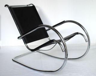 Sessel,  Schaukelstuhl,  Rocking Chair,  Stahlrohr,  Leder Schwarz Bild