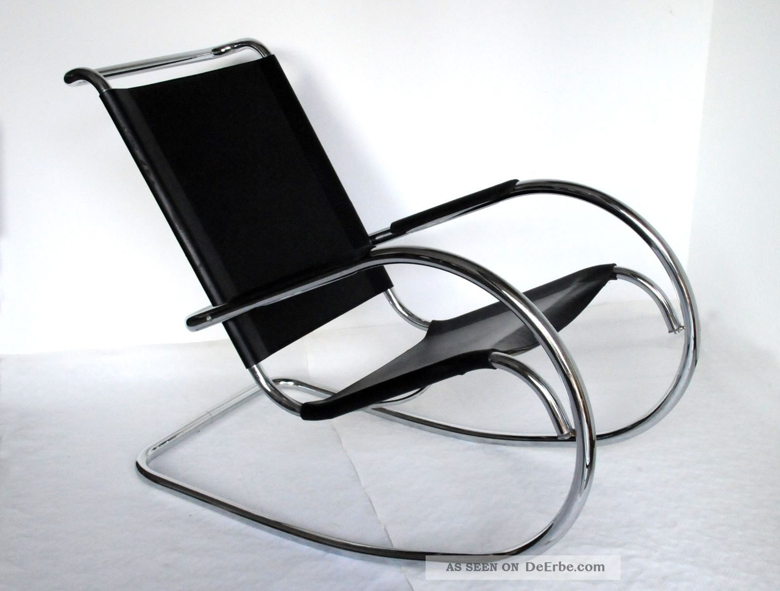 Sessel schaukelstuhl rocking chair stahlrohr leder schwarz for Leder schaukelstuhl