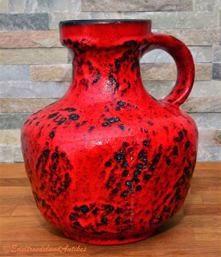 Fat Lava Eckige Vase Henkelvase Rot Red Germany 70er 70s H.  23 Cm D.  Ca.  16 Cm Bild