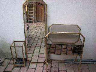 Pl76 Garderobe Im 70er Style Messing Spiegel 3 Teile Schirmständer Kommode Bild