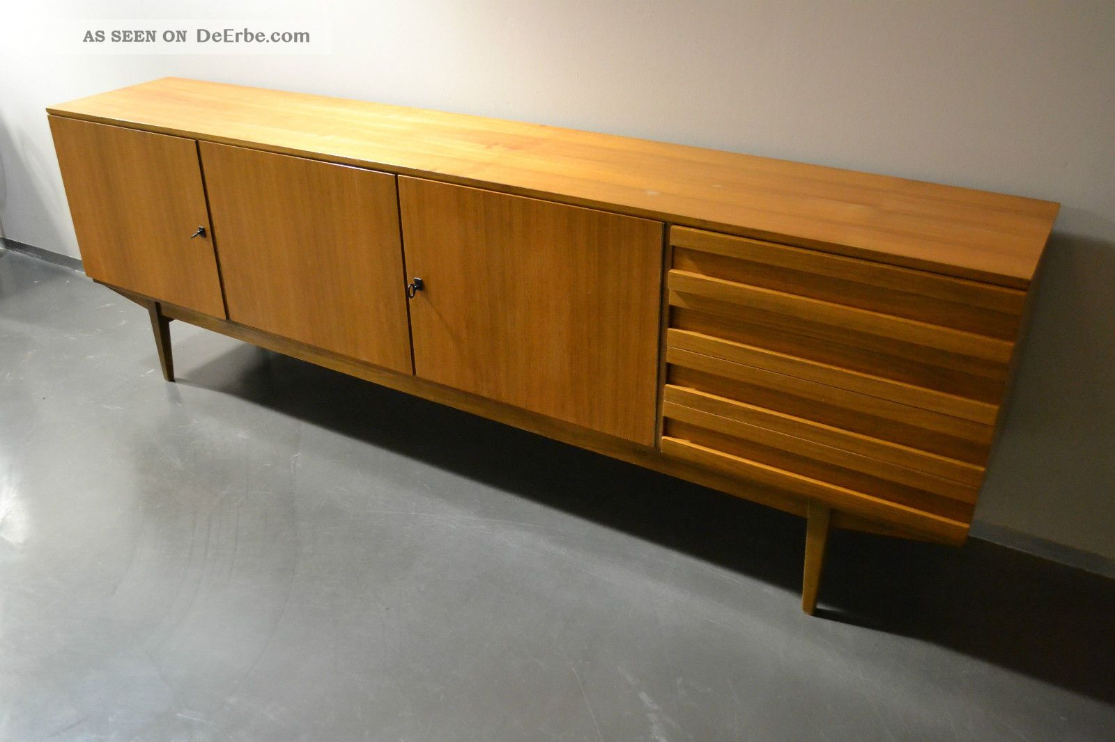 xxl sideboard kommode mit schubladen 60er 70er teak nussbaum mid century. Black Bedroom Furniture Sets. Home Design Ideas
