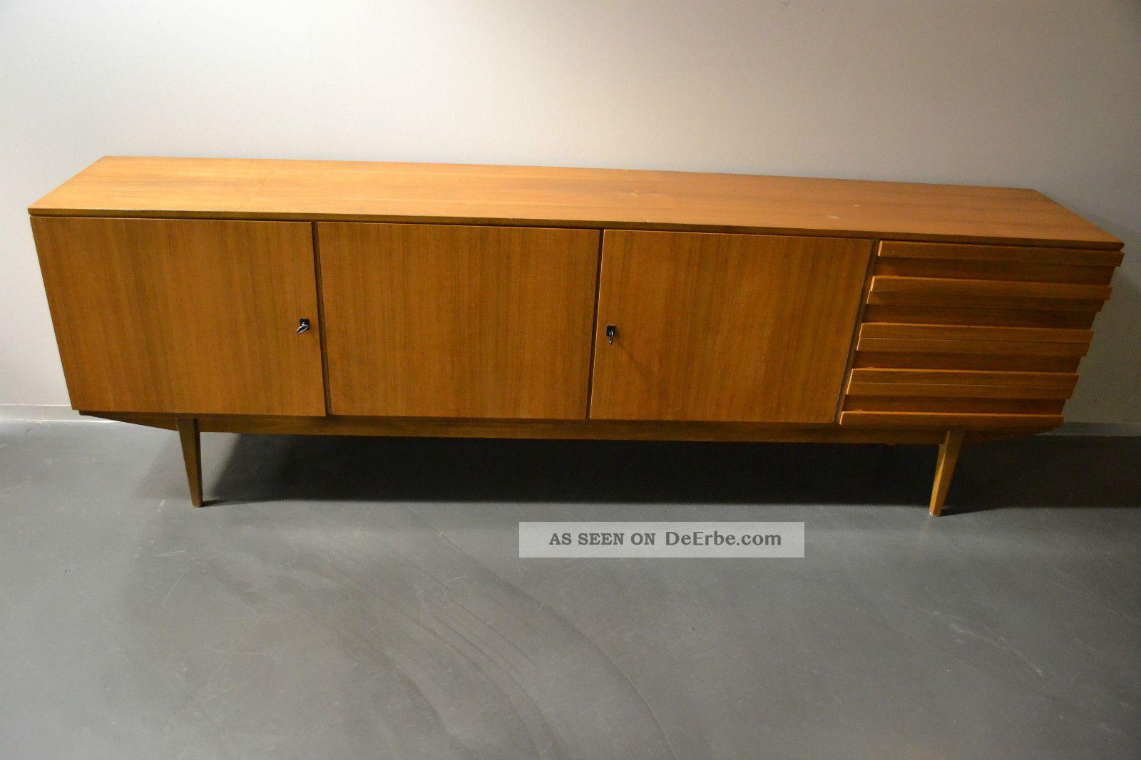 xxl sideboard kommode mit schubladen 60er 70er teak nussbaum mid century. Black Bedroom Furniture Sets. Home Design Ideas