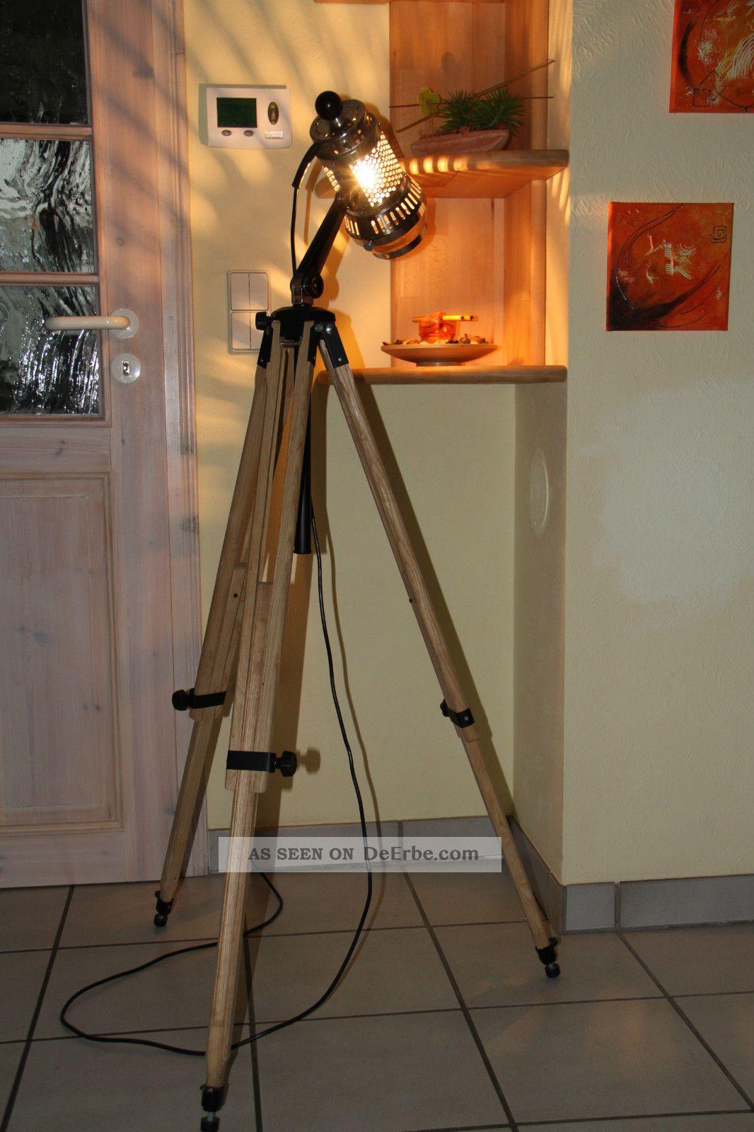 tripod steh lampe holz stativ bauhaus loft vintage floor lamp art deco. Black Bedroom Furniture Sets. Home Design Ideas