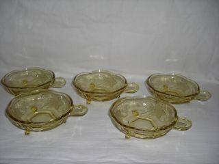 5x Kompott Schalen Schüsseln Pressglas Gelb - Selten Bild
