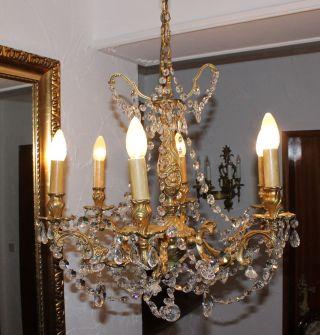Prunkvoller Antiker Lüster/kronleuchter/kristall - Prismen 6 Flammig Bild